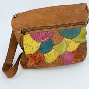 Fossil Square Shoulder Crossbody Brown w/ Patches